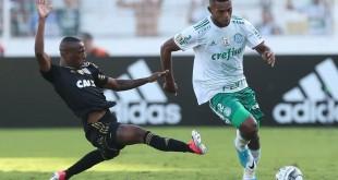 O jogador Borja, da SE Palmeiras, disputa bola com o jogador Jeferson, da AA Ponte Preta, durante partida de ida, válida pela semi final, do Campeonato Paulista, Série A1, no Estádio Moisés Lucarelli.